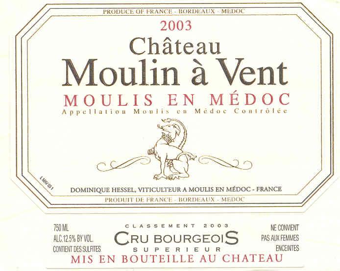 Château Moulin à Vent - Etiquette (2003)